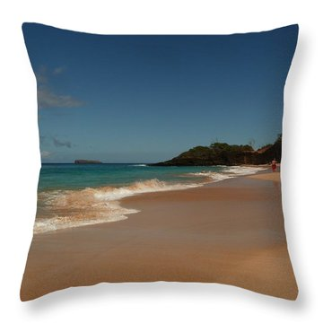 A Stroll On Warm Sands Throw Pillow