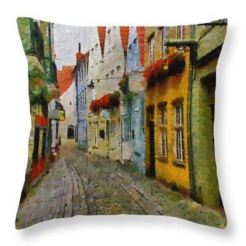 A Stroll Through The Street Throw Pillow