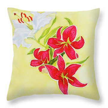 A Study Of Lilies Throw Pillow