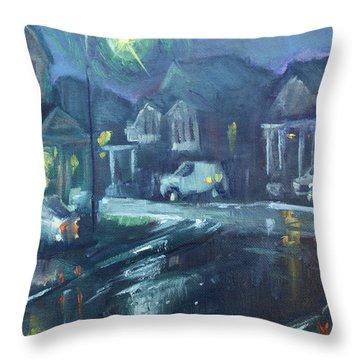 A Summer Rainy Night Throw Pillow
