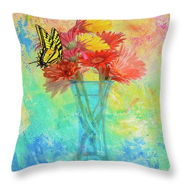 A Summer Time Bouquet Throw Pillow by Diane Schuster