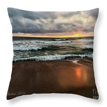 A Sunrise Over Kitty Hawk Throw Pillow by Linda Mesibov