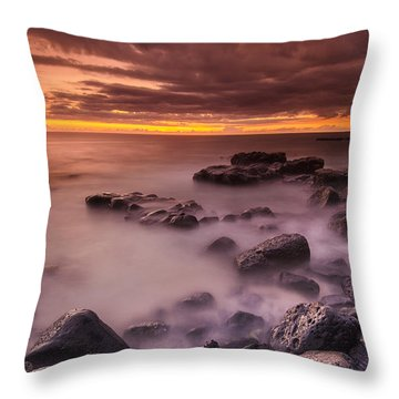 A Sunset At Track Beach Throw Pillow