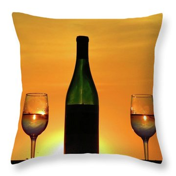 A Sunset In Each Glass Throw Pillow