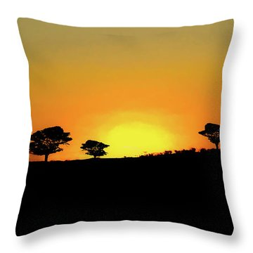 A Sunset In Namibia Throw Pillow by Ernie Echols