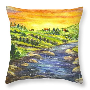 Throw Pillow featuring the painting A Sunset In Wine Country by Carol Wisniewski