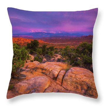 A Sunset Over Arches Throw Pillow