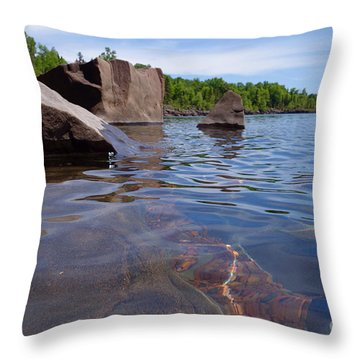 A Superior Shoreline Throw Pillow by Sandra Updyke