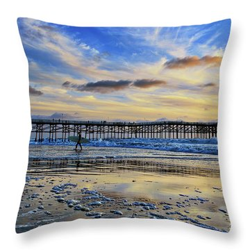 A Surfer Heads Home Under A Cloudy Sunset At Crystal Pier Throw Pillow