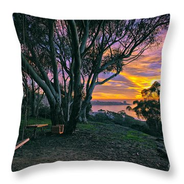 A Swinging Sunset From The Secret Swings Of La Jolla Throw Pillow