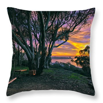 A Swinging Sunset From The Secret Swings Of La Jolla Throw Pillow