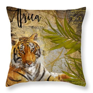 A Taste Of Africa Tiger Throw Pillow by Mindy Sommers