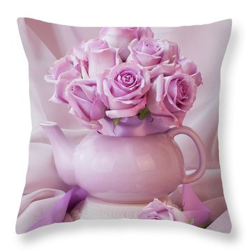 A Tea Pot Of Lavender Pink Roses  Throw Pillow by Sandra Foster