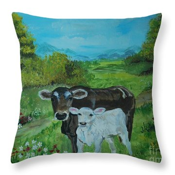 Throw Pillow featuring the painting A Tender Love by Leslie Allen