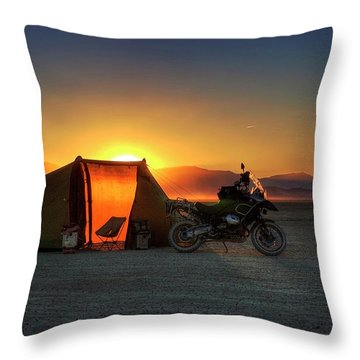 Throw Pillow featuring the photograph A Tent, A Motorcycle, And A Sunset On The Playa by Peter Thoeny