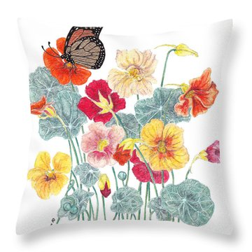 Throw Pillow featuring the painting A Tethered Butterfly by Stanza Widen