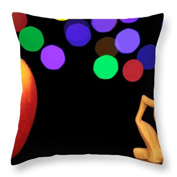 A Thinker In Starry Night Throw Pillow by Paul Ge