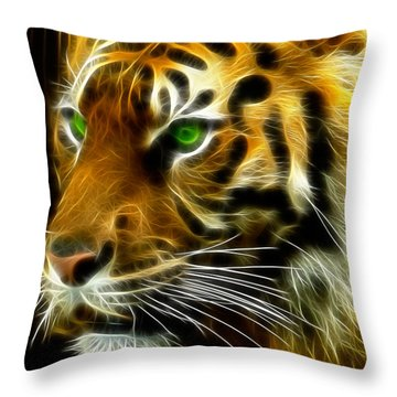 A Tiger's Stare Throw Pillow