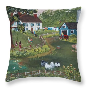 Throw Pillow featuring the painting A Time To Play by Virginia Coyle