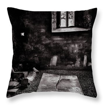 Throw Pillow featuring the photograph A Tombstone In Sligo Abbey Bw by RicardMN Photography