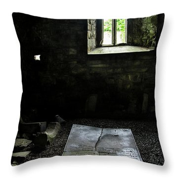 Throw Pillow featuring the photograph A Tombstone In Sligo Abbey by RicardMN Photography