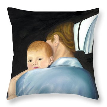 Comforting A Tradition Of Nursing Throw Pillow by Marlyn Boyd