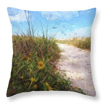 A Trail To The Beach Throw Pillow