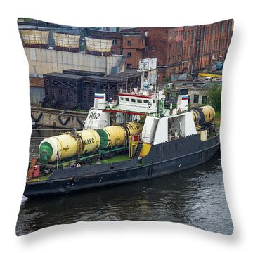 Throw Pillow featuring the photograph A Train Ferry In St Petersburg Carrying Freight by Clare Bambers