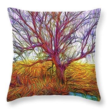 A Tree Greets Springtime Throw Pillow