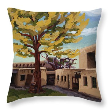 Throw Pillow featuring the painting A Tree Grows In The Courtyard, Palace Of The Governors, Santa Fe, Nm by Erin Fickert-Rowland