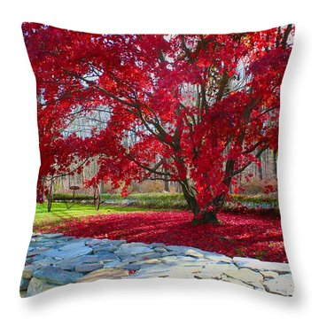 A Tree's Red Skirt Throw Pillow