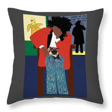 A Tribute To Jean-michel Basquiat Throw Pillow