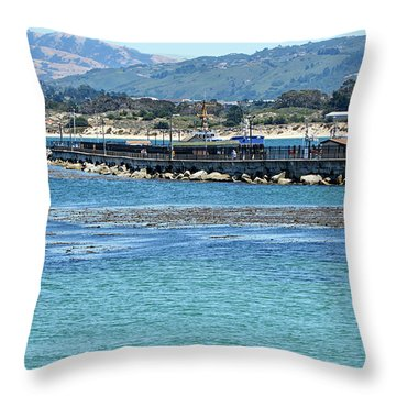 A Tropical Day At The Monterey Coast Guard Pier Throw Pillow