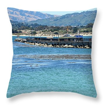 Throw Pillow featuring the photograph A Tropical Day At The Monterey Coast Guard Pier by Susan Wiedmann