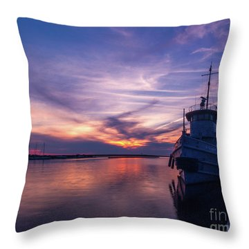 A Tugboat Sunset Throw Pillow