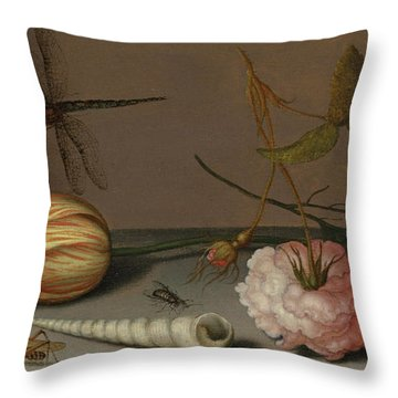 A Tulip, A Carnation, Spray Of Forget-me-nots, With A Shell, A Lizard And A Grasshopper, On A Ledge Throw Pillow