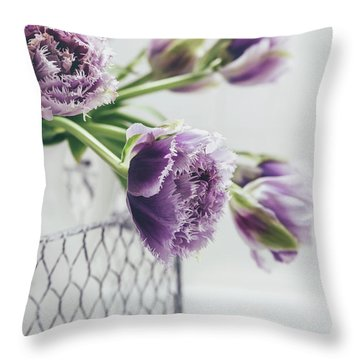 Throw Pillow featuring the photograph A Tulip Moment by Kim Hojnacki