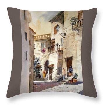 A Tuscan Street Scene Throw Pillow