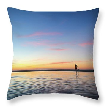 A Twilight Beach Walk Throw Pillow