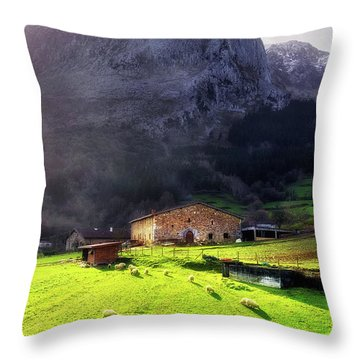 A Typical Basque Country Farmhouse With Sheep Throw Pillow