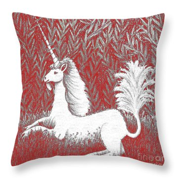 A Unicorn In Moonlight Tapestry Throw Pillow