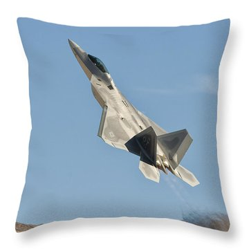 A U.s. Air Force F-22 Raptor Takes Throw Pillow by Giovanni Colla