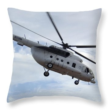 A U.s. Air Force Mi-8 Hip Helicopter Throw Pillow