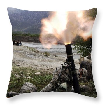 A U.s. Army Soldier Ducking Away Throw Pillow by Stocktrek Images