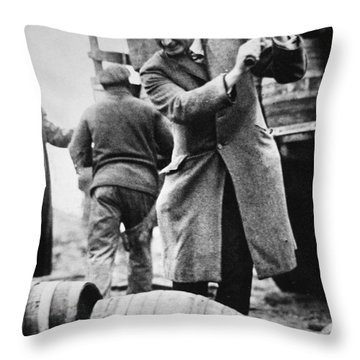 A Us Federal Agent Broaching A Beer Barrel From An Illegal Cargo During The American Prohibition Era Throw Pillow
