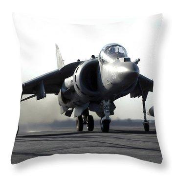 A U.s. Marine Corps Av-8b Harrier Throw Pillow by Stocktrek Images