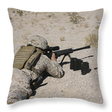 A U.s. Marine Zeros His M107 Sniper Throw Pillow by Stocktrek Images