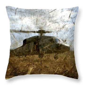 A U.s. Navy Hh-60 Seahawk Stirs Throw Pillow by Stocktrek Images