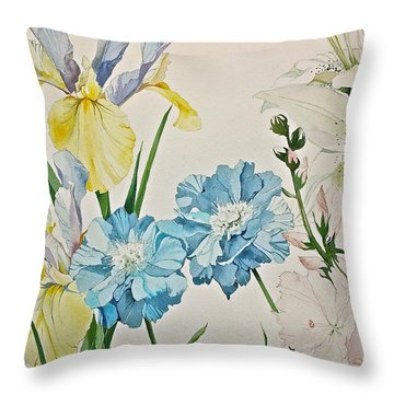Throw Pillow featuring the painting A Variety-posthumously Presented Paintings Of Sachi Spohn  by Cliff Spohn