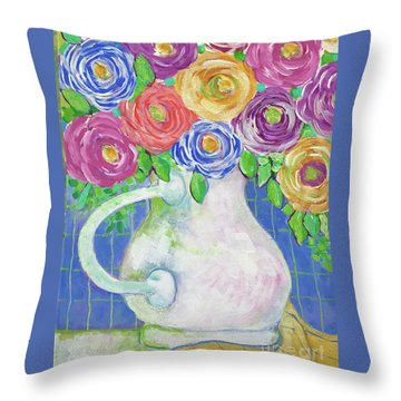 A Vase Full Of Happiness Throw Pillow